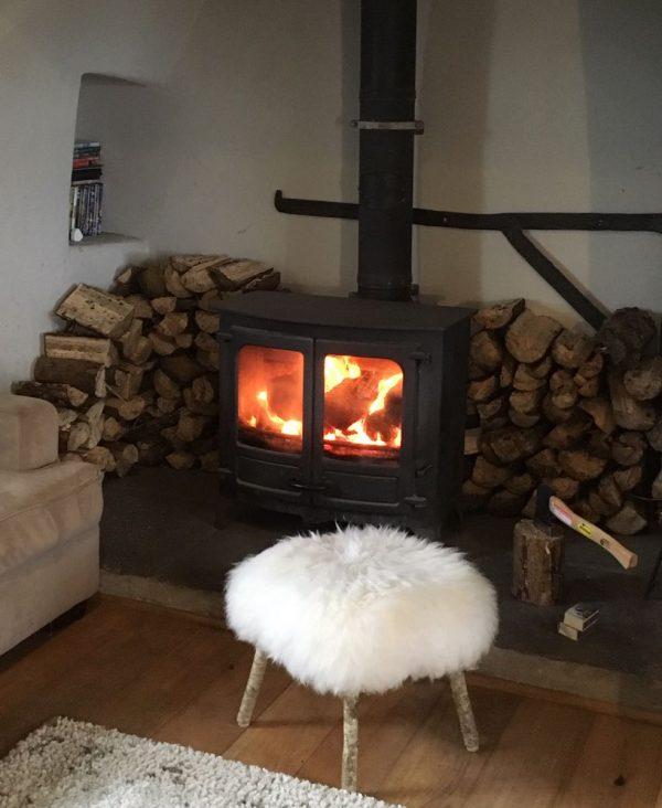 sheepskin footstool